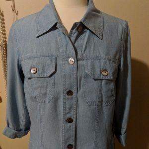 Jackets & Blazers - Chambray Jean Jacket 3/4 Sleeve Small